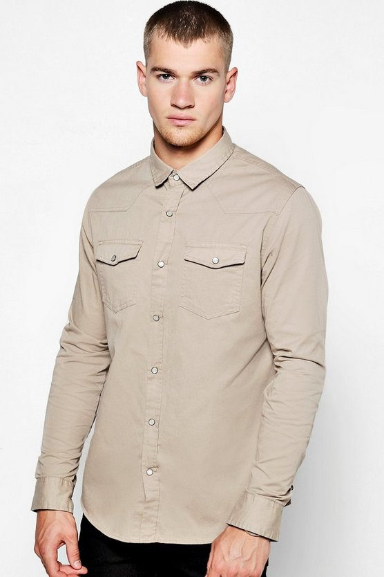 Stone Long Sleeve Western Style Shirt