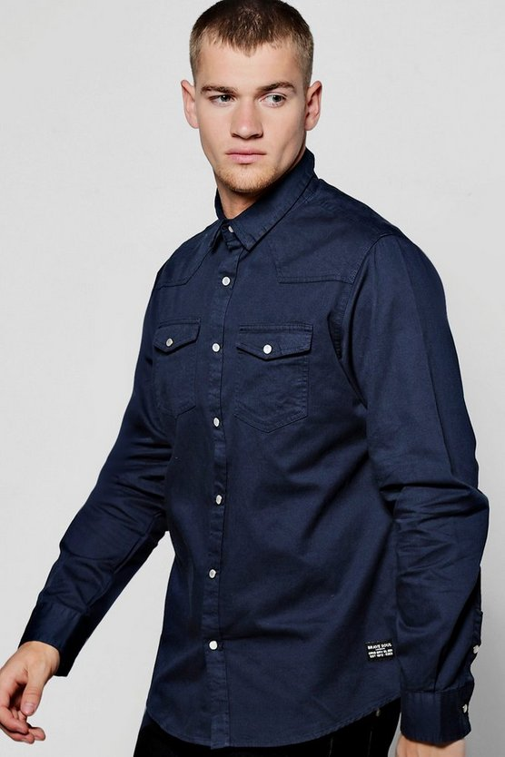 Navy Long Sleeve Western Style Shirt