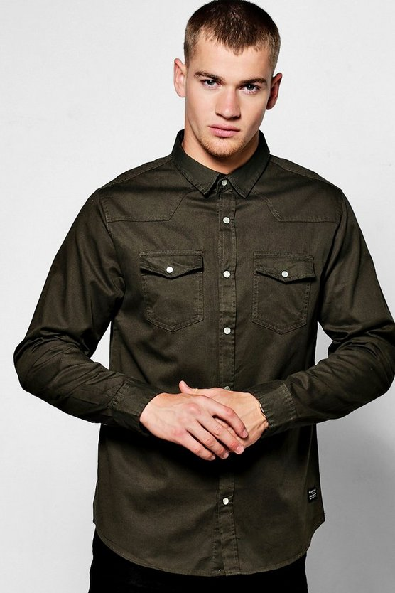 Khaki Long Sleeve Western Style Shirt