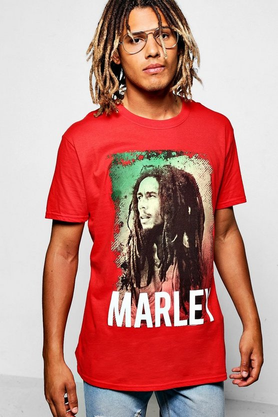 Red Oversized Bob Marley Licence Band T-Shirt
