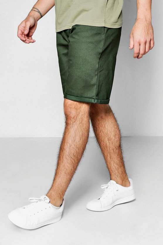Khaki Wide Leg Chino Short