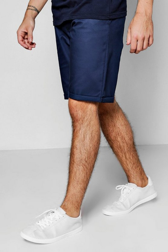 Navy Wide Leg Chino Short