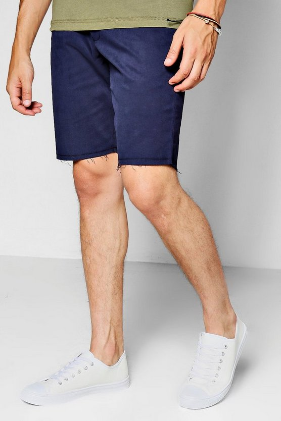 Navy Raw Edge Skinny Fit Short