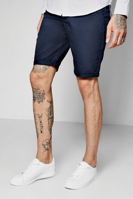 Navy Plain Skinny Fit Chino Short