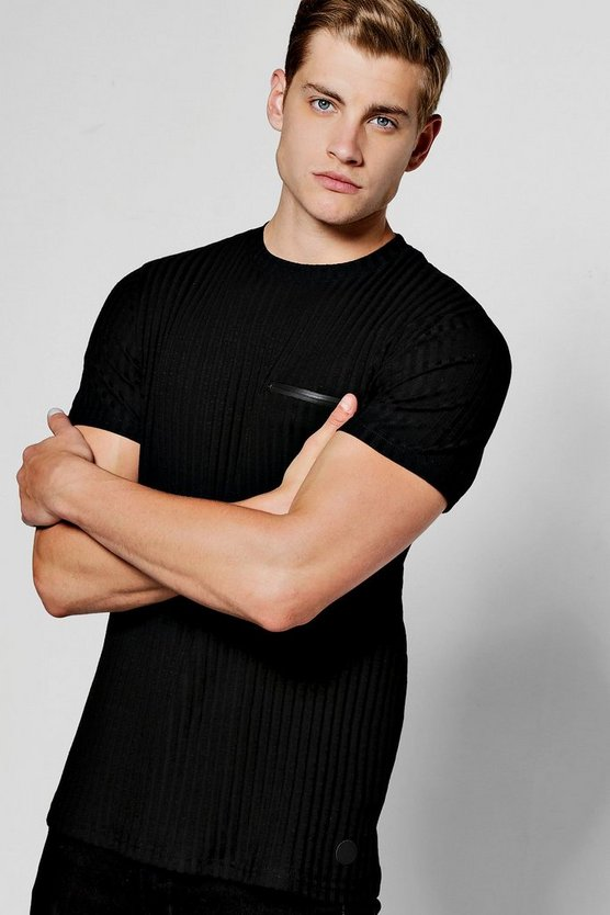 Black Ribbed Knit Muscle Fit T-Shirt