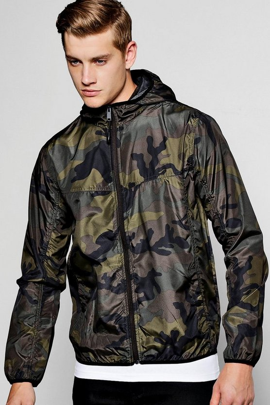 Khaki Camo Shower Resistant Zip Through Cagoule