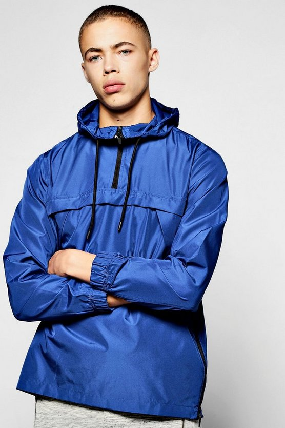 Blue Over The Head Hooded Cagoule