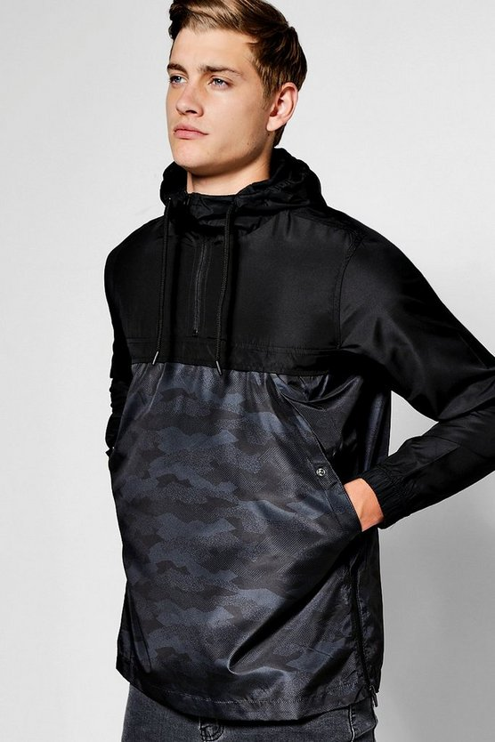 Black Over The Head Contrast Camo Cagoule