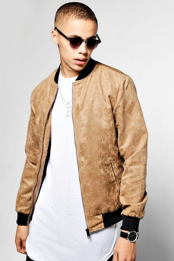 Camel Faux Suede Zip Through Bomber Jacket