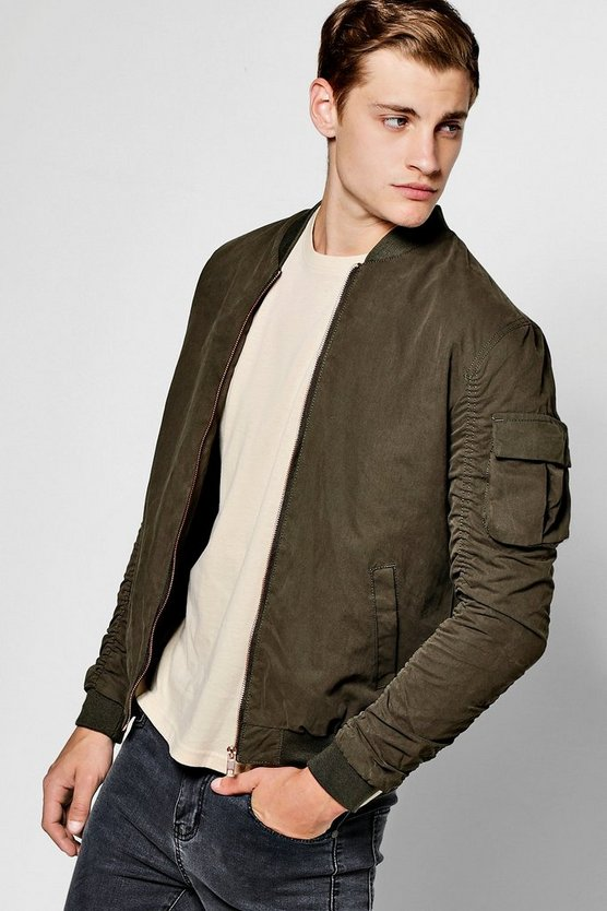 Khaki Zip Through Cotton Bomber With Ruched Sleeves