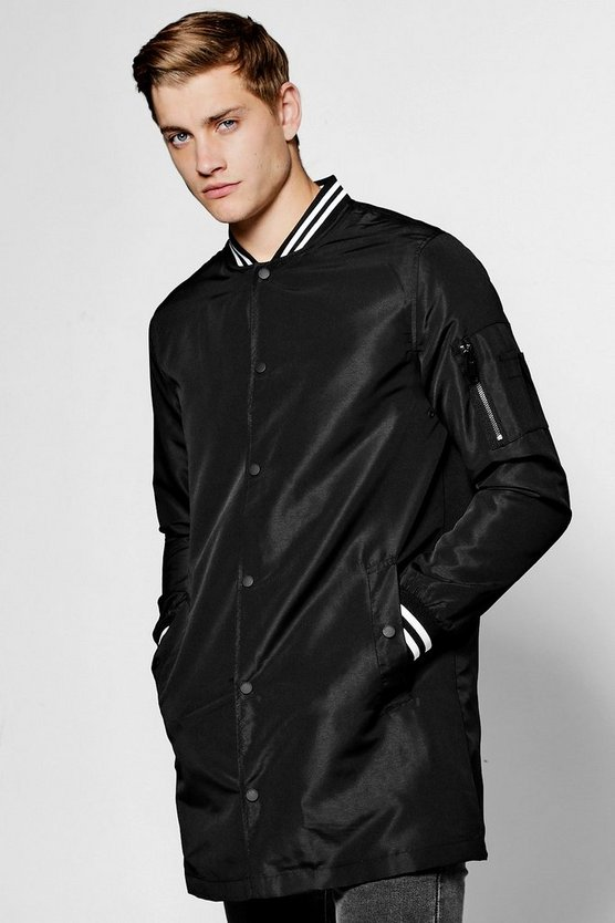 Black Longline Taslan Bomber Jacket With Sports Rib