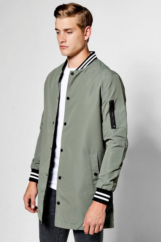 Olive Longline Taslan Bomber Jacket With Sports Rib