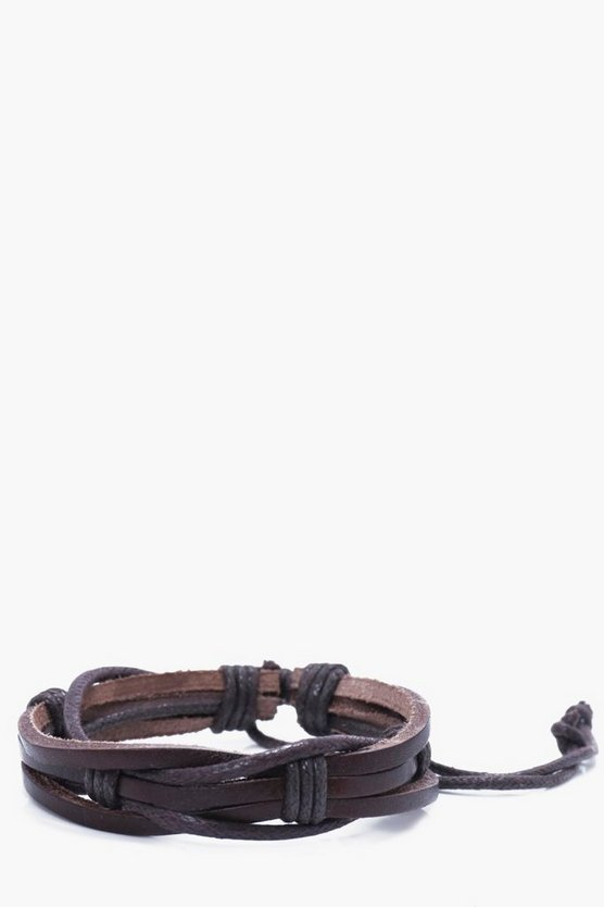 Leather Look Multi Row Bracelet