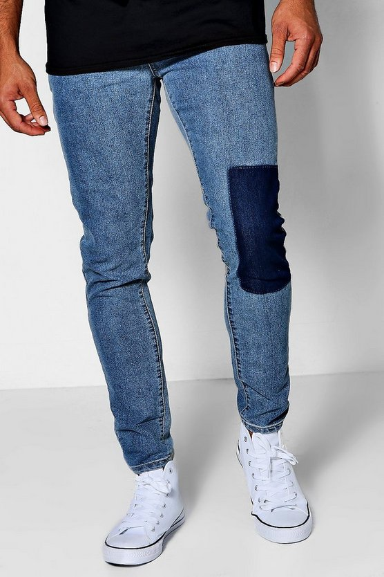 Pale Blue Skinny Fit Patch Wash Jeans
