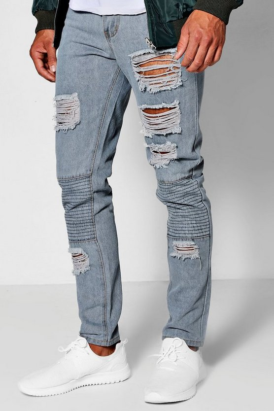 Ice Wash Skinny Fit Distressed Biker Jeans