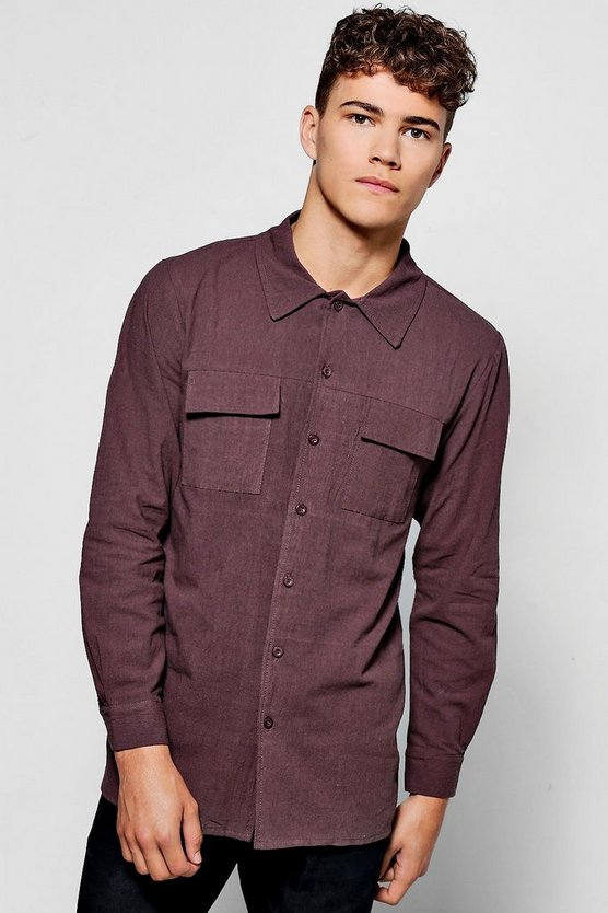 Plain Long Sleeve Utility Shirt