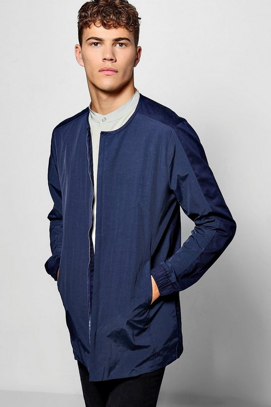 Longline Collarless Zip Shacket