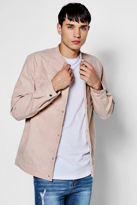 Faux Suede Grandad collar Shacket'