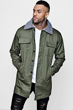 Khaki Longline Harrington Jacket With Borg Collar