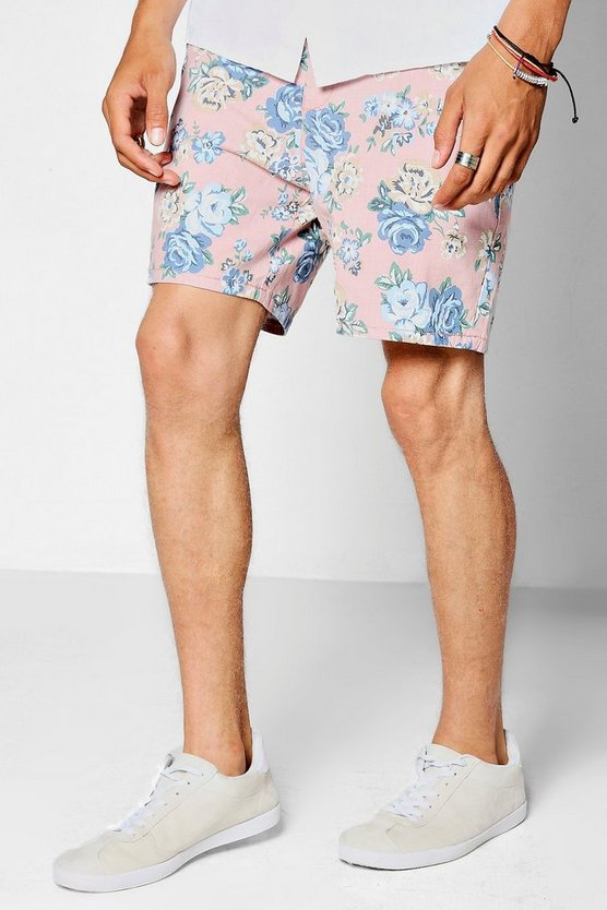 Pink Floral Mid Length Smart Shorts