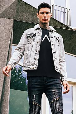 Charcoal Acid Wash Borg Collar Denim Jacket