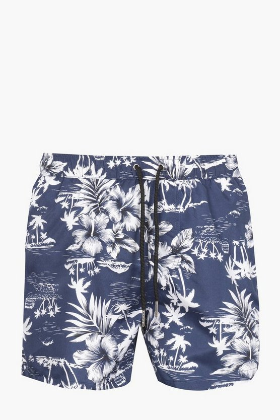 Navy Hawaiian Print Swim Shorts