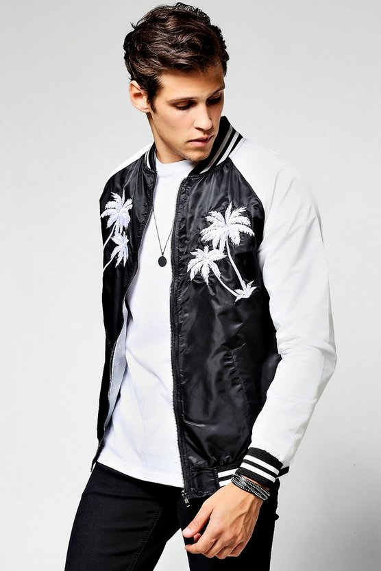 Black Palm Embroidered Bomber Jacket