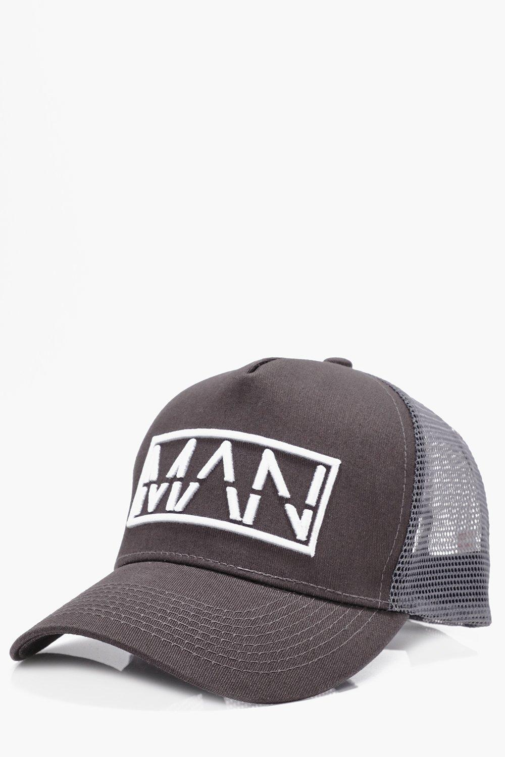 Contrast Embroidery Trucker Hat - grey - MAN Contr
