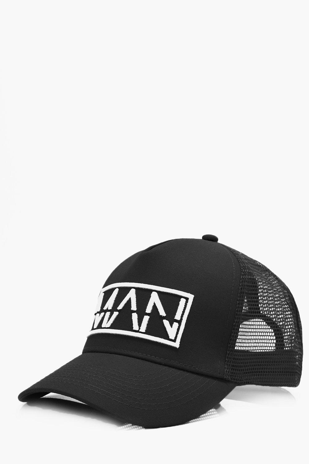 Contrast Embroidery Trucker Hat - black - MAN Cont