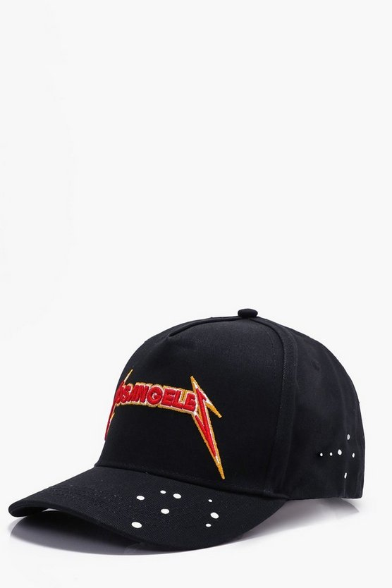 Black Los Angeles Embroidered Band Snap Back