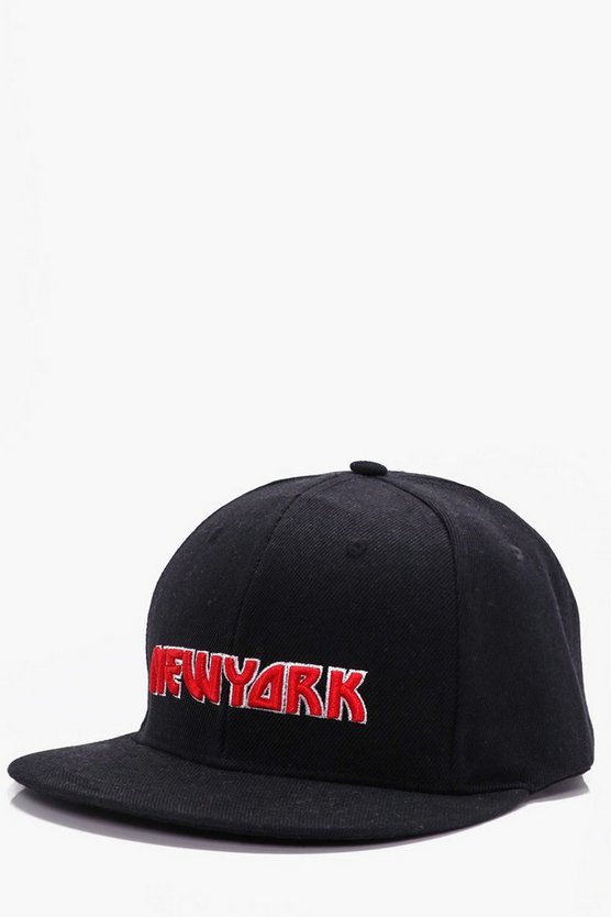 Black New York Embroidered Snap Back