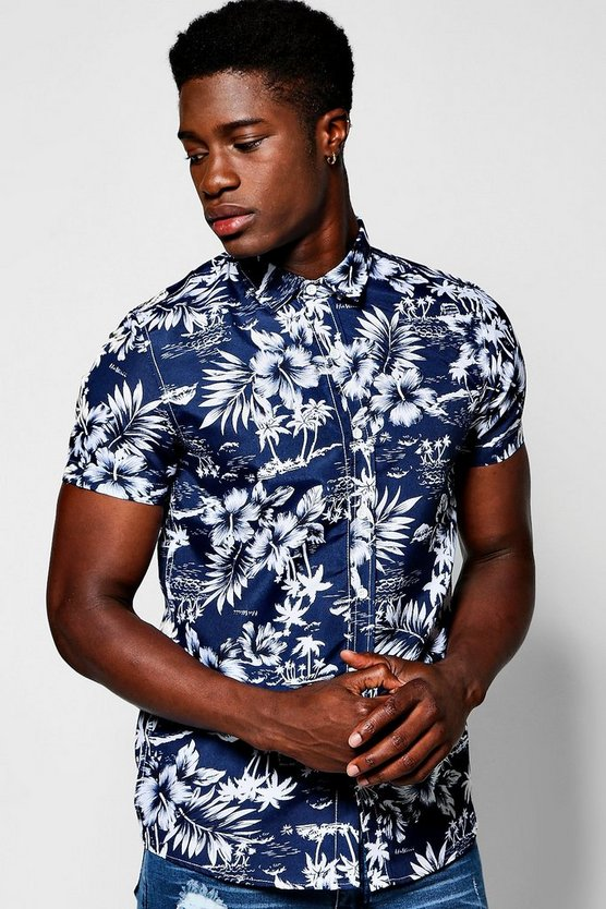 Navy Hawaian Print Short Sleeve Shirt
