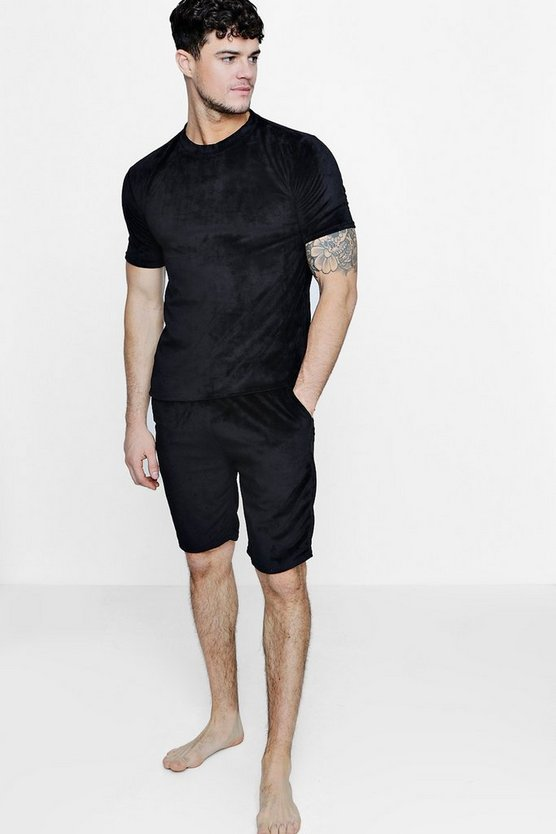 Towelling T-Shirt And Short Lounge Set