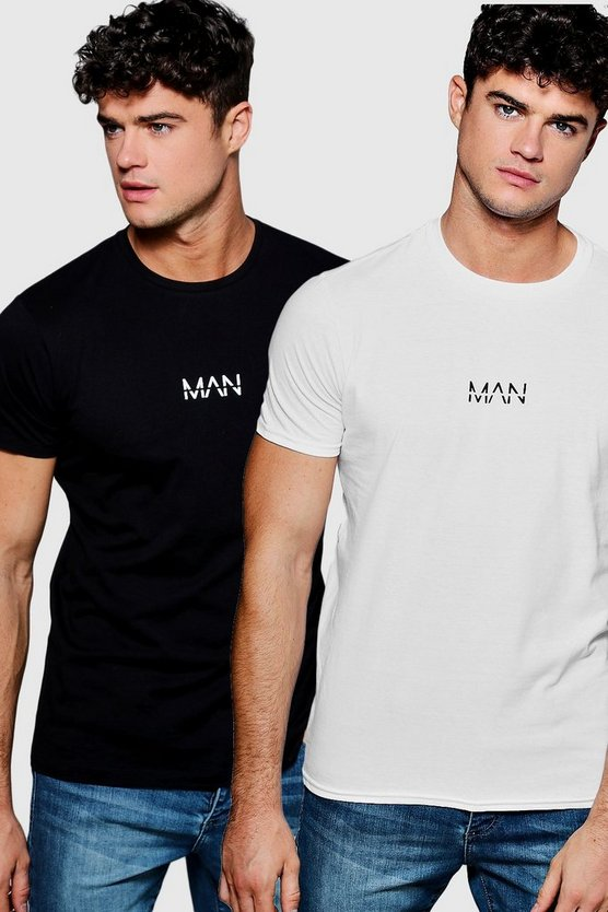 2 Pack MAN Logo Chest Print T-Shirt