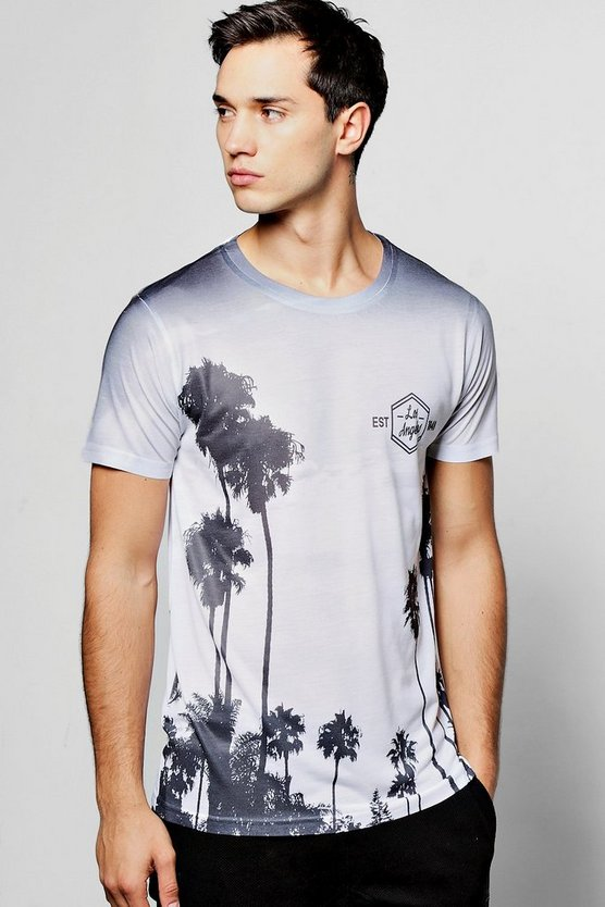 LA Palm Print Sublimation T Shirt
