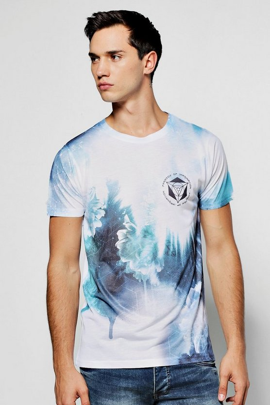 Blue And White Floral Fade Sublimation T Shirt