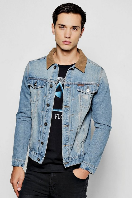 Blue Denim Jacket With Cord Collar
