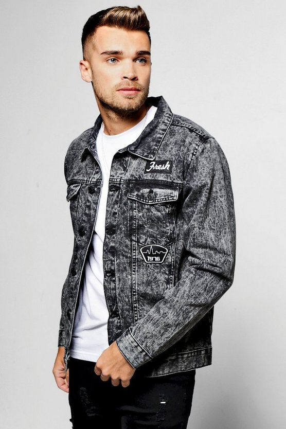 Charcoal Denim Jacket With Badges