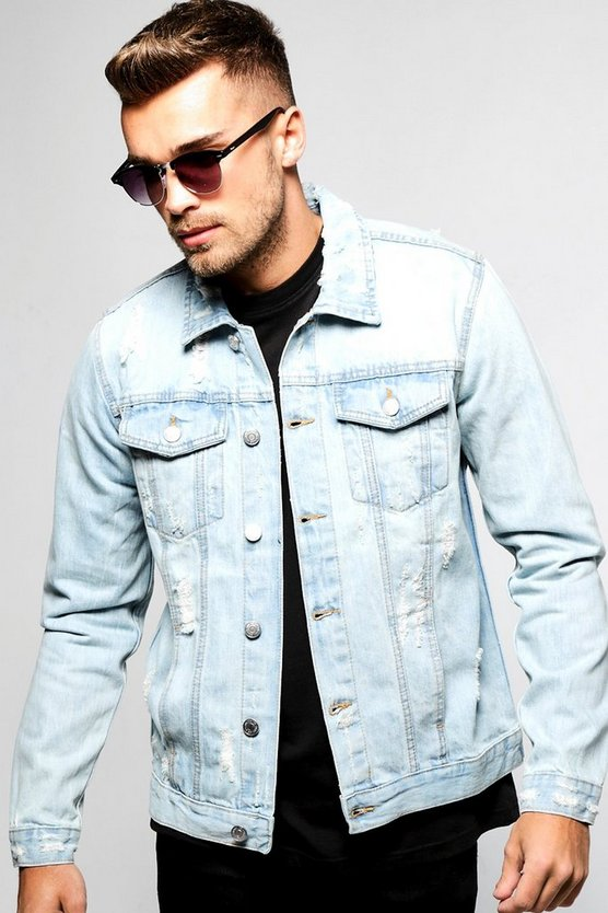 Pale Blue Denim Jacket With All Over Distressing