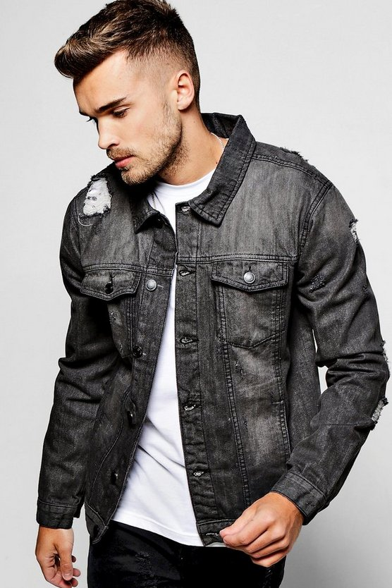 Grey Denim Jacket With Light Distressing