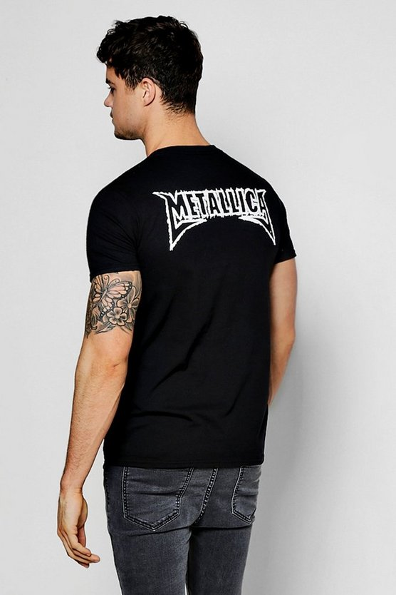 Black Metallic Back Print Band Licence Tee