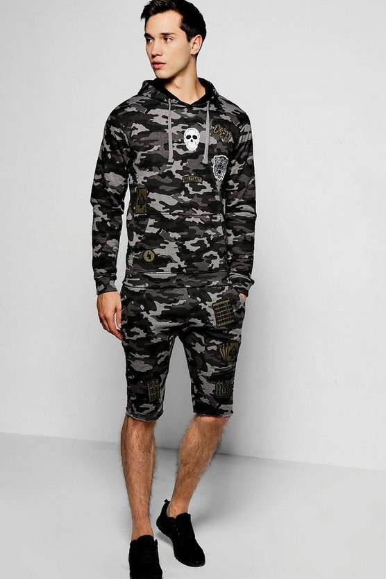 Hooded Camo Short Set