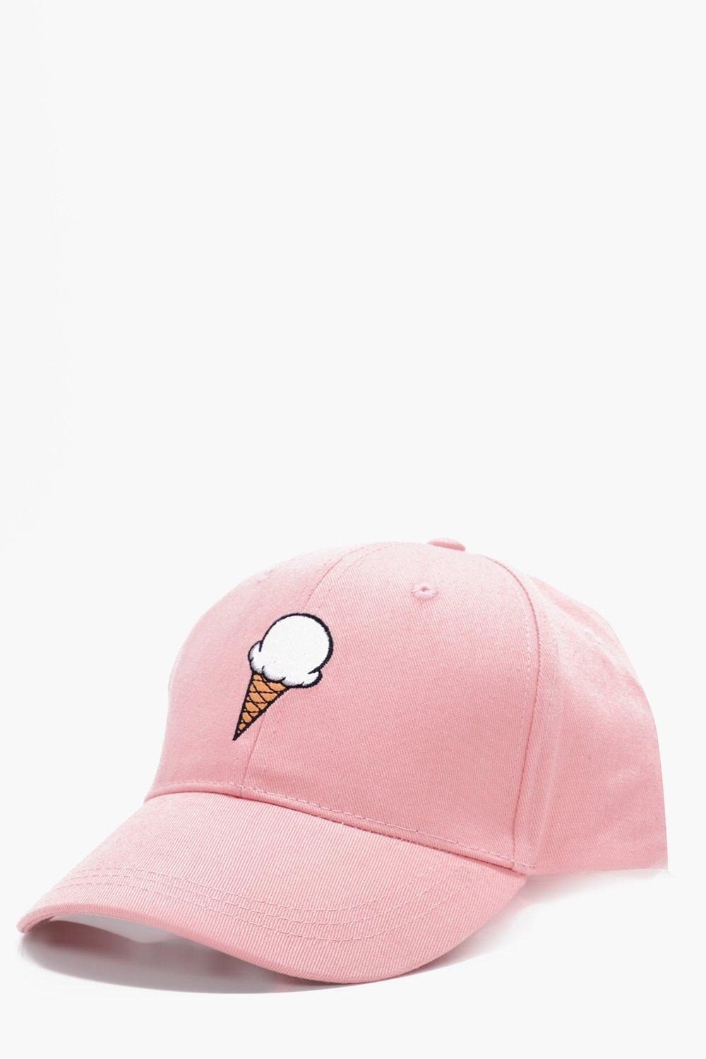 Cream Embroidered Snapback Cap - pink - Ice Cream