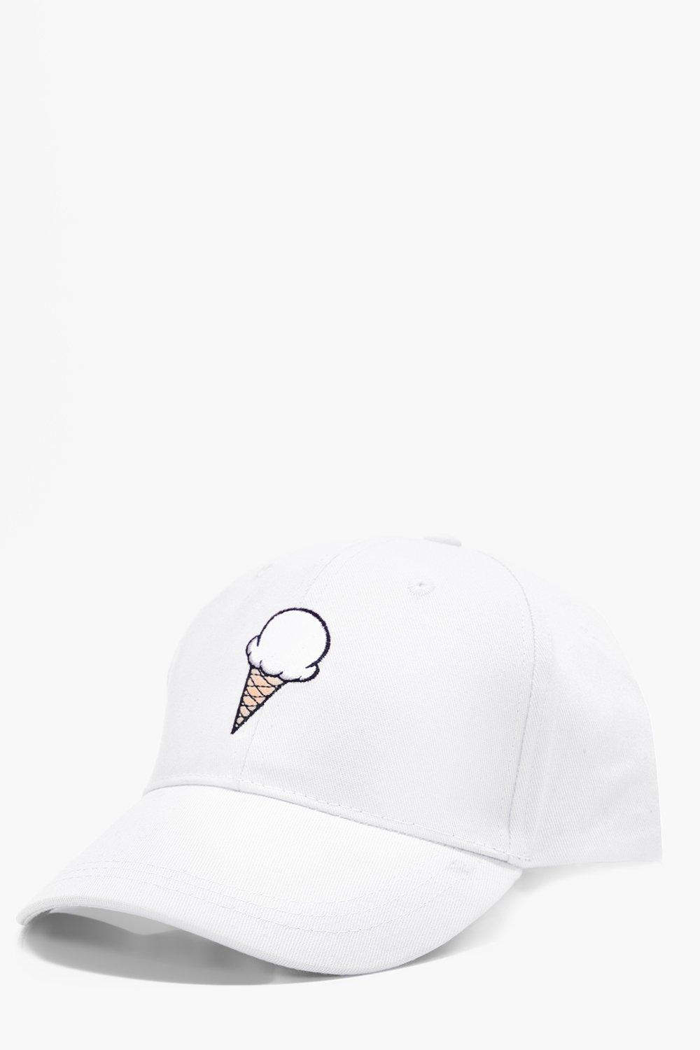 Cream Embroidered Snapback Cap - white - Ice Cream