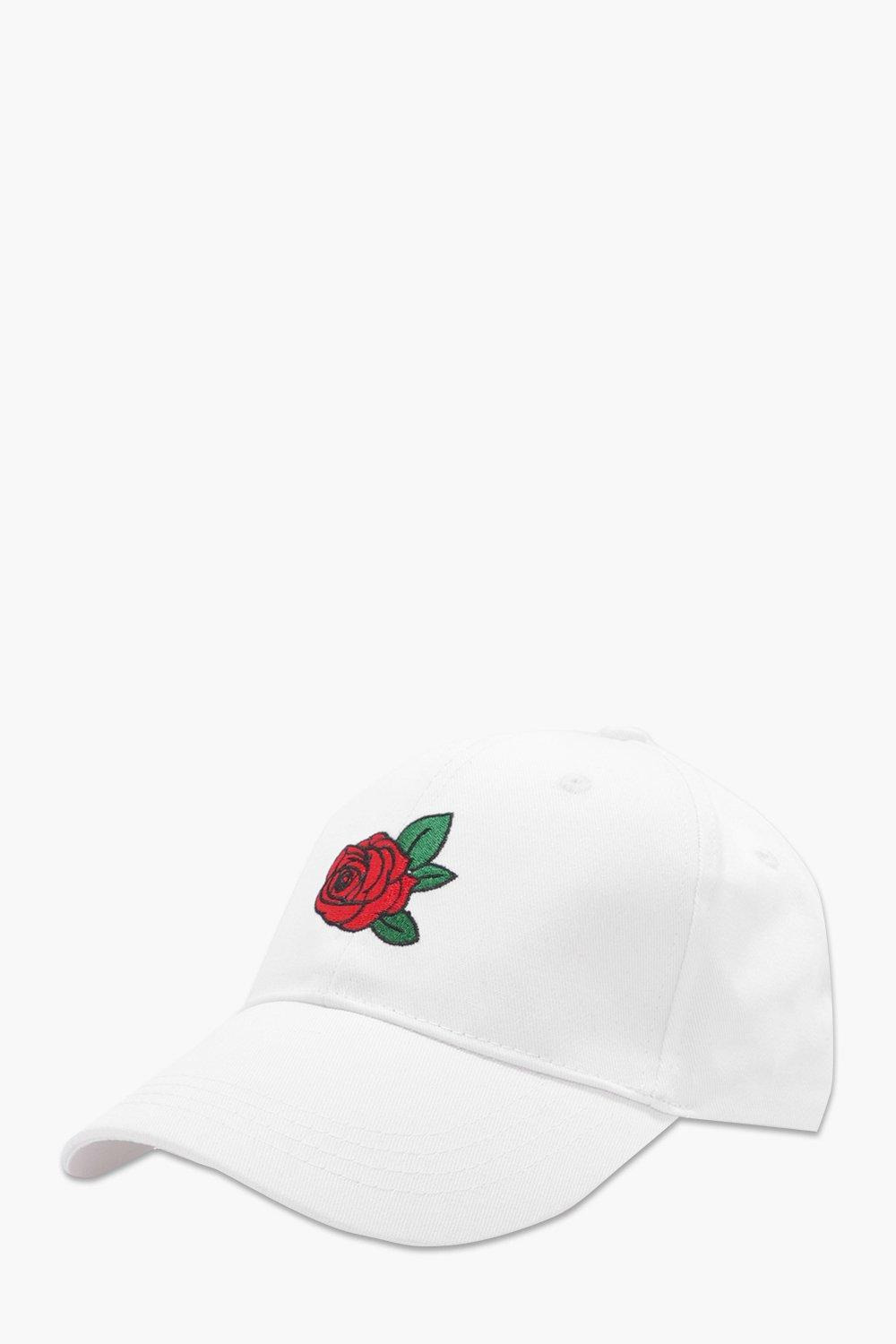 Embroidered Snapback Cap - white - Rose Embroidere