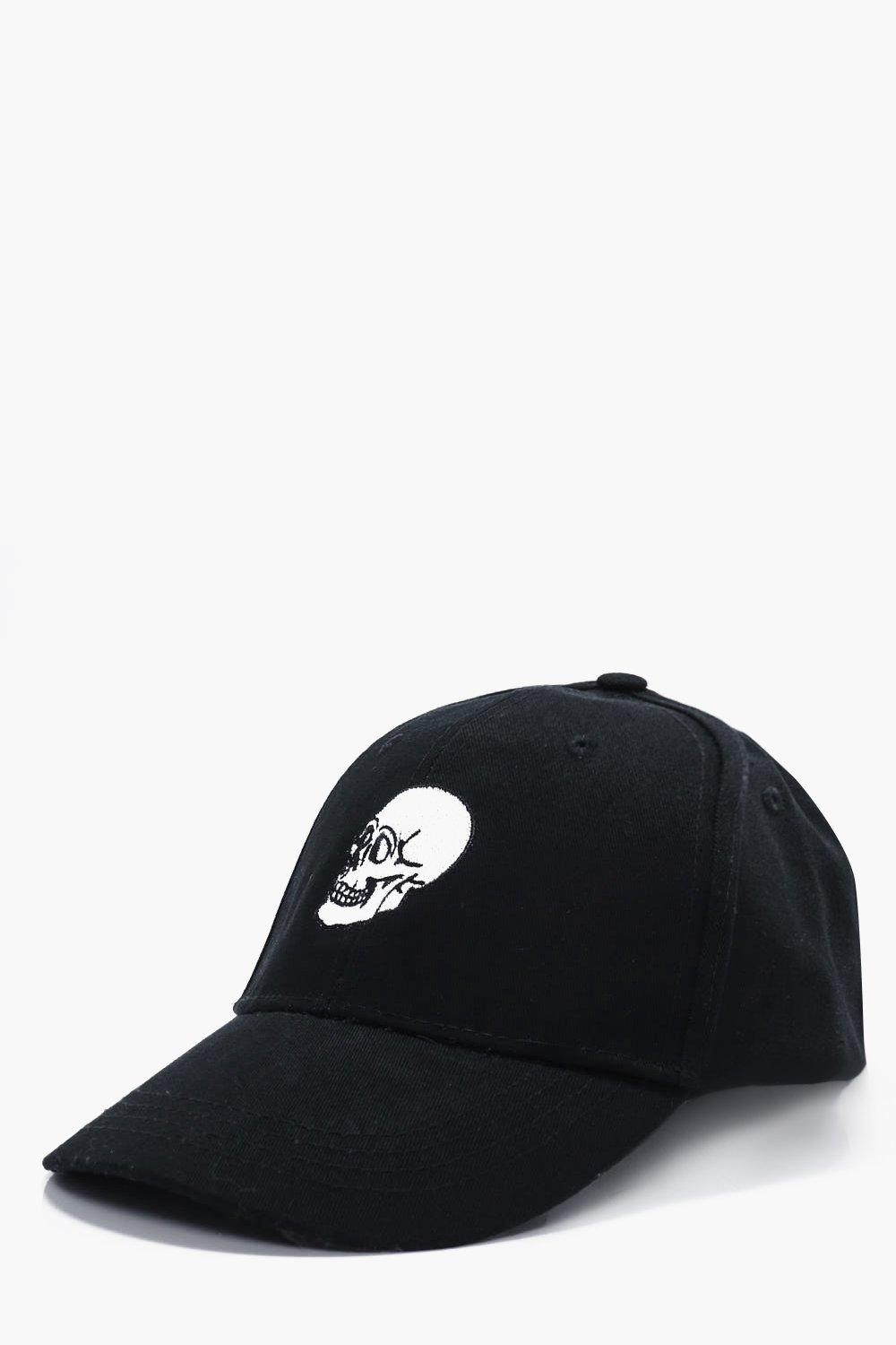 Embroidered Snapback Cap - black - Skull Embroider