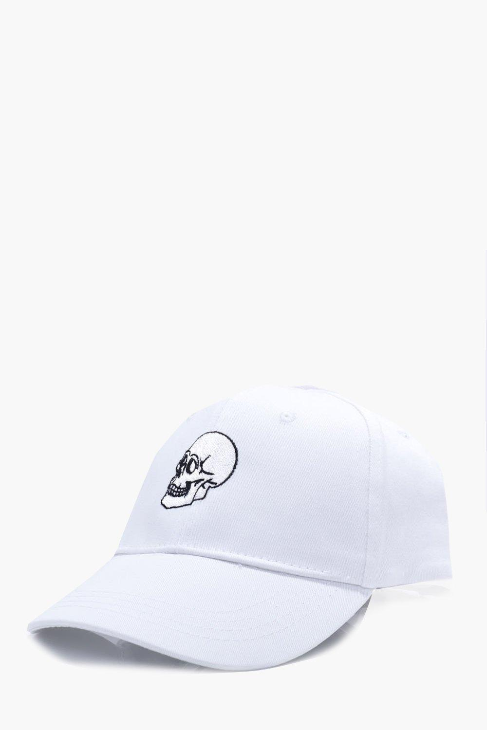Embroidered Snapback Cap - white - Skull Embroider