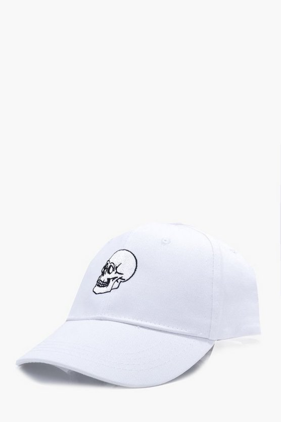 Skull Embroidered Snapback Cap
