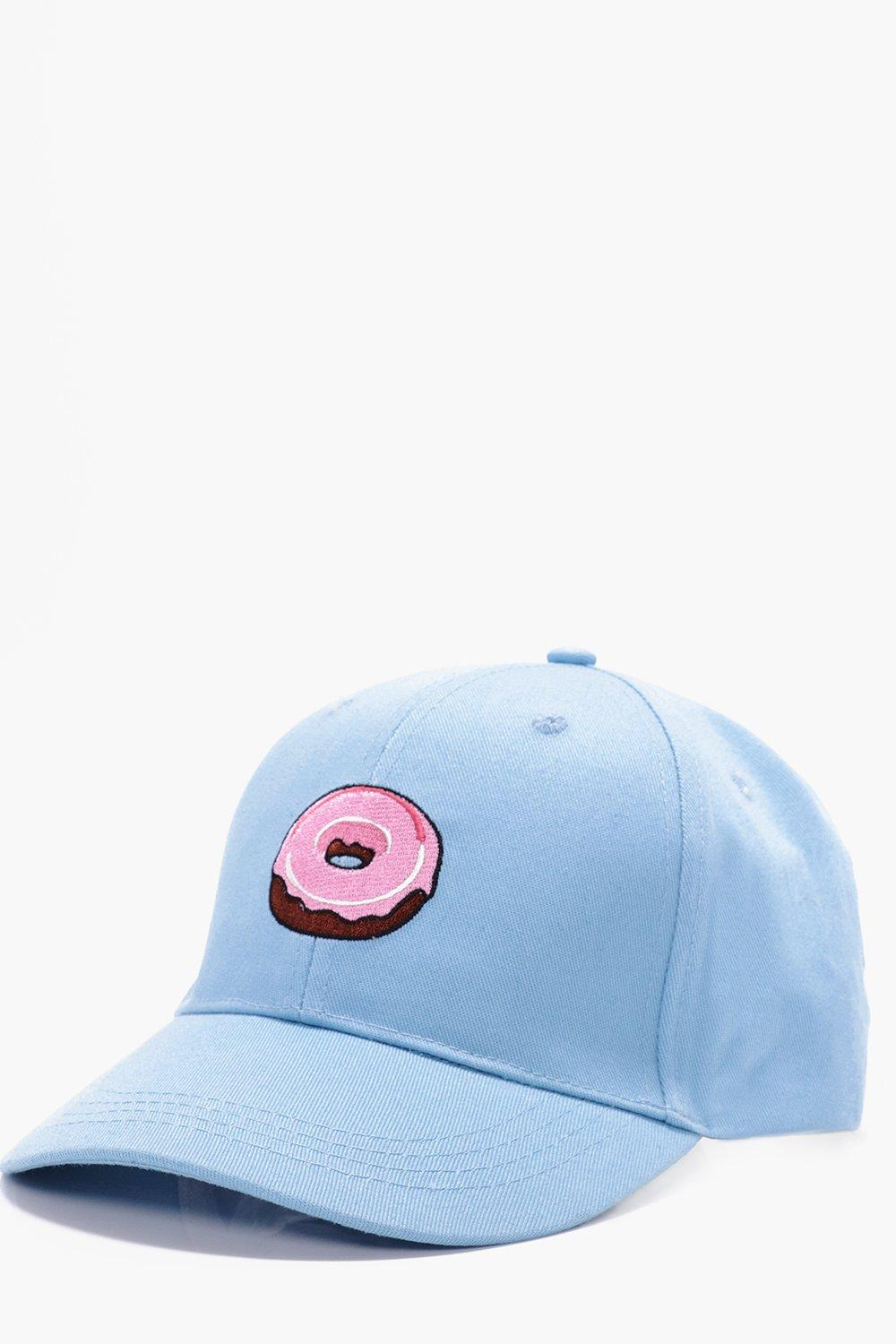 Embroidered Snapback Cap - blue - Donut Embroidere