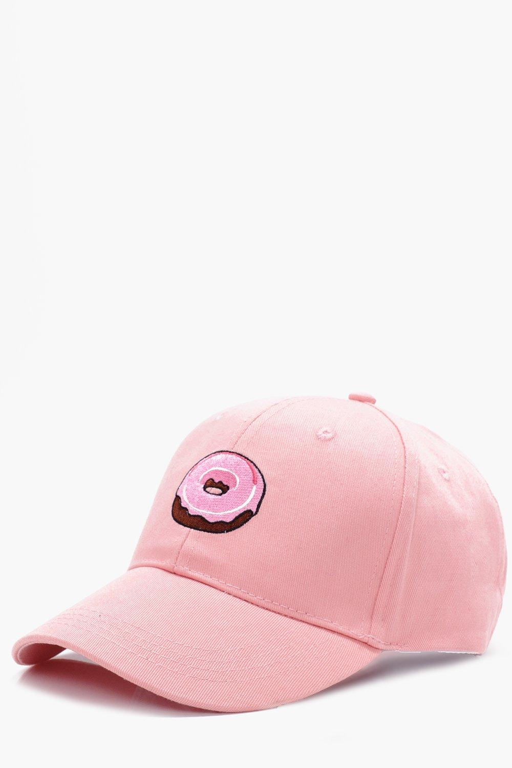Embroidered Snapback Cap - pink - Donut Embroidere